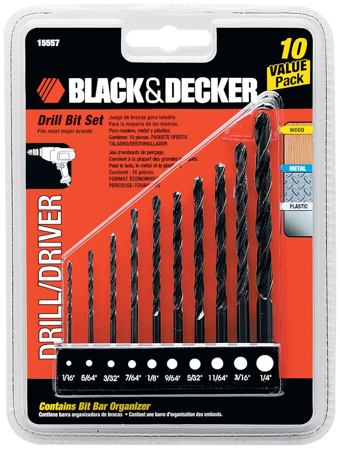 Black  Decker 15557 Drill Bit Set 10-Piece
